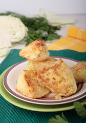 Hunks of cabbage fried in batter of eggs and wheat flour