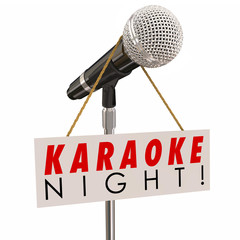 Karaoke Night Microphone Sign Advertising Fun SInging Party