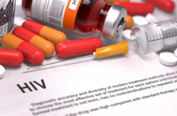 HIV Diagnosis. Medical Concept. Composition of Medicaments.