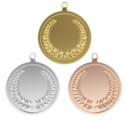 Coin. 3D. Gold Silver and Bronze blank medals/coins