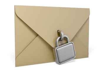 Security. 3D. E-mail concept on white background. Isolated 3D