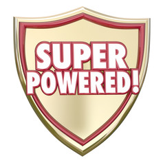 Super Powered Shield Words Superhero Ability Mighty Force