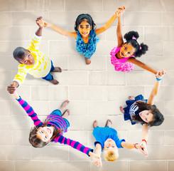 Children Kids Cheerful Unity Diversity Concept