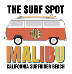 Malibu surf typography, t-shirt graphics, vectors
