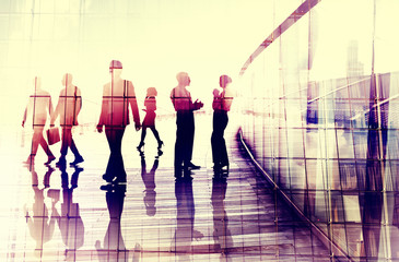 Business People Walking Commuter Conversation Concept