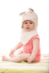 Baby girl in fluffy bunny hat