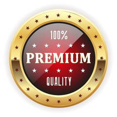 Red premium quality badge with gold border