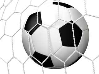 Soccer. 3D. Soccerball in net