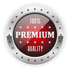 Red premium quality badge with silver border