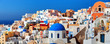Leinwanddruck Bild - Panorama of famous greece city Oia. Santorini island