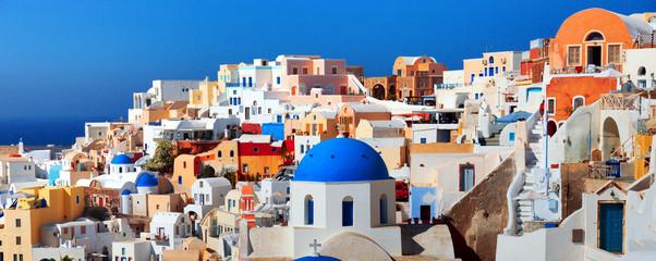 Panorama of famous greece city Oia. Santorini island