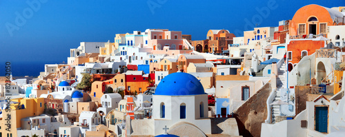 Leinwanddruck Bild Panorama of famous greece city Oia. Santorini island