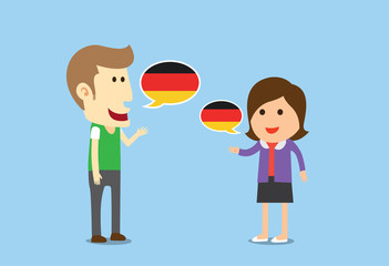 Women and man speaking German in conversation of them