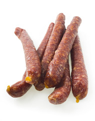 A group of freshly made hot Italian sausage links