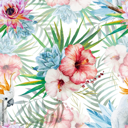 Watercolor pattern with parrot and flowers - 82364862