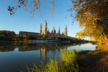 Cathedral in Zaragoza from Ebro  in  morning.  Spain