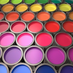 Paint Can. 3D. Overhead view of may colorful paint cans XXL