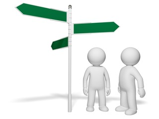 Three-dimensional Shape. 3D. Choice and directions signs