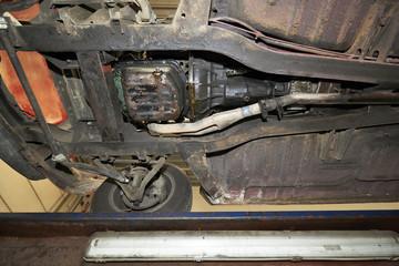 Old vintage car view from below