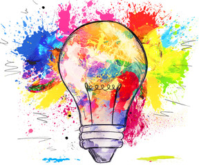Hand-drawn light bulb over colorful blots of paint