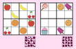 Childrens sudoku puzzle with sweets nuts and fruit - 82368464