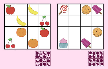 Childrens sudoku puzzle with sweets nuts and fruit