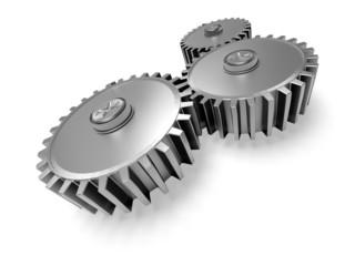 Gear. 3D. Full metal cog wheels