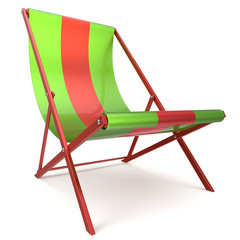 Beach chair green red chaise longue nobody relaxation