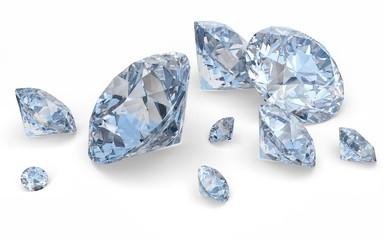 Diamond. 3D. Blue Diamonds isolated on white.