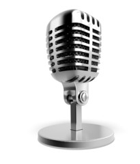 Microphone. 3D. Silver microphone