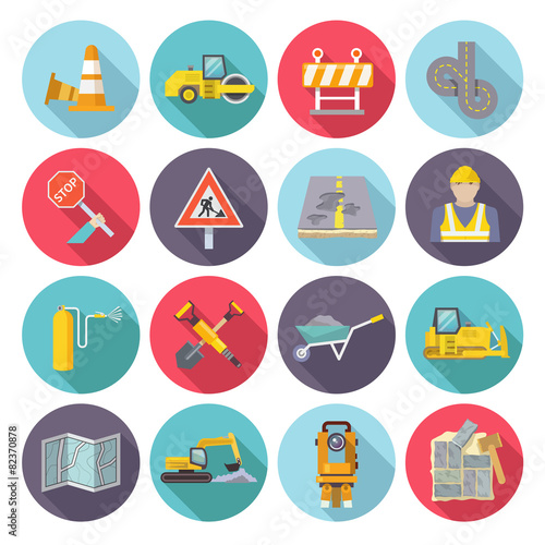 Road Worker Flat Icons - 82370878