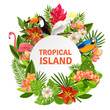 Tropical birs and flowers - 82371213