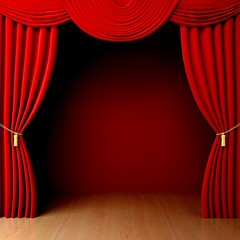 Curtain. 3D. Red Velvet Theatre courtains