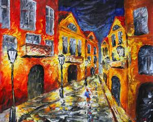 Original oil painting. Lonely rainy night street
