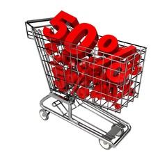 Sale. 3D. Discount Cart