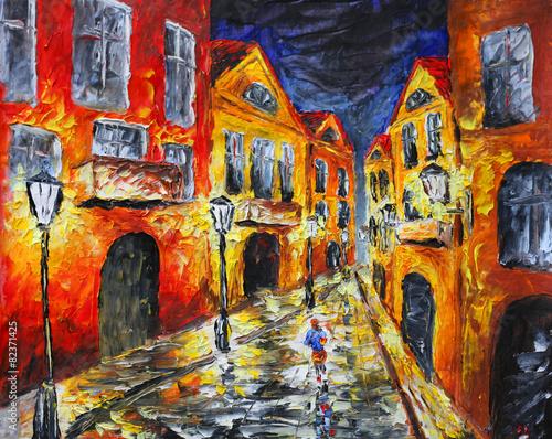 Fototapeta Original oil painting. Lonely rainy night street