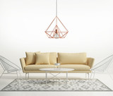 Minimal design white interior with himmeli diamond lamp - 82372891