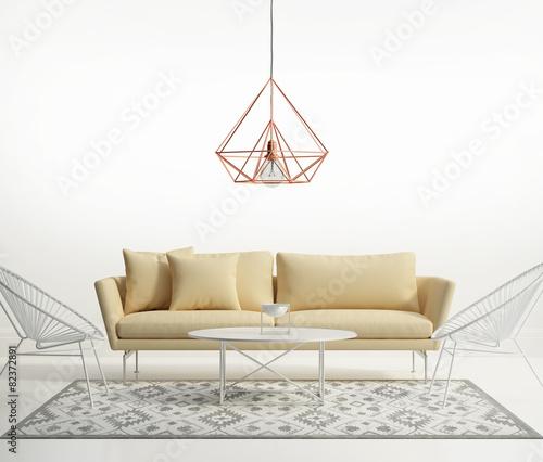 Zdjęcia na płótnie, fototapety, obrazy : Minimal design white interior with himmeli diamond lamp