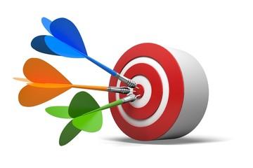 Marketing. 3D. Blue darts on red target