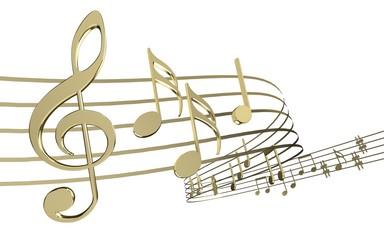 Music. 3D. Golden Notes
