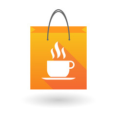 Orange shopping bag icon with a coffee cup