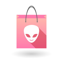 Pink shopping bag icon with an alien face