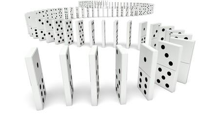 Domino. 3D. Domino Effect