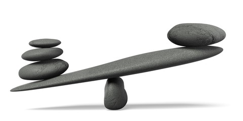 Weight Scale. 3D. Stones Balancing