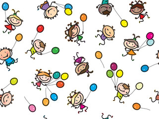 Vector  multi-ethnic kids with balloons, seamless pattern, isola