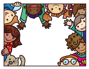 Vector fun,  multi-ethnic kids cartoons  frame.