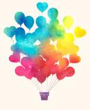 Watercolor vintage hot air balloon.Celebration festive backgroun - 82378230