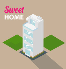Apartment isometric building. Vector.