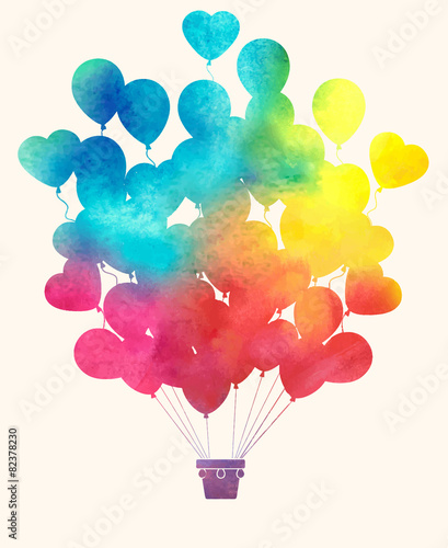 Watercolor vintage hot air balloon.Celebration festive backgroun - 82378230