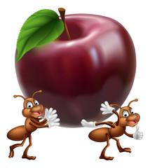 Cartoon ants carrying apple